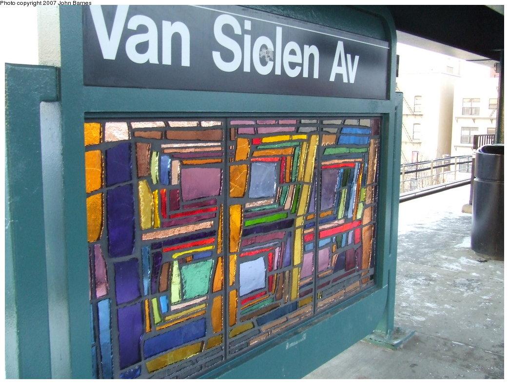 (192k, 1044x788)<br><b>Country:</b> United States<br><b>City:</b> New York<br><b>System:</b> New York City Transit<br><b>Line:</b> BMT Nassau Street-Jamaica Line<br><b>Location:</b> Van Siclen Avenue<br><b>Photo by:</b> John Barnes<br><b>Date:</b> 3/7/2007<br><b>Artwork:</b> <i>The View From Here</i>, Barbara Ellmann, 2007<br><b>Viewed (this week/total):</b> 2 / 2252