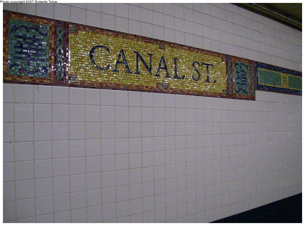 (185k, 1044x773)<br><b>Country:</b> United States<br><b>City:</b> New York<br><b>System:</b> New York City Transit<br><b>Line:</b> BMT Broadway Line<br><b>Location:</b> Canal Street (Manhattan Bridge Branch)<br><b>Photo by:</b> Roberto C. Tobar<br><b>Date:</b> 3/7/2007<br><b>Artwork:</b> <i>Empress Voyage 2/27/1784</i>, Bing Lee, 1998<br><b>Notes:</b> Wall tile design on N and Q platform.<br><b>Viewed (this week/total):</b> 2 / 3231