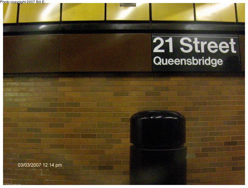 (126k, 820x622)<br><b>Country:</b> United States<br><b>City:</b> New York<br><b>System:</b> New York City Transit<br><b>Line:</b> IND 63rd Street Line<br><b>Location:</b> 21st Street/Queensbridge<br><b>Photo by:</b> Bill E.<br><b>Date:</b> 3/3/2007<br><b>Notes:</b> Detail of wall tile.<br><b>Viewed (this week/total):</b> 0 / 2378