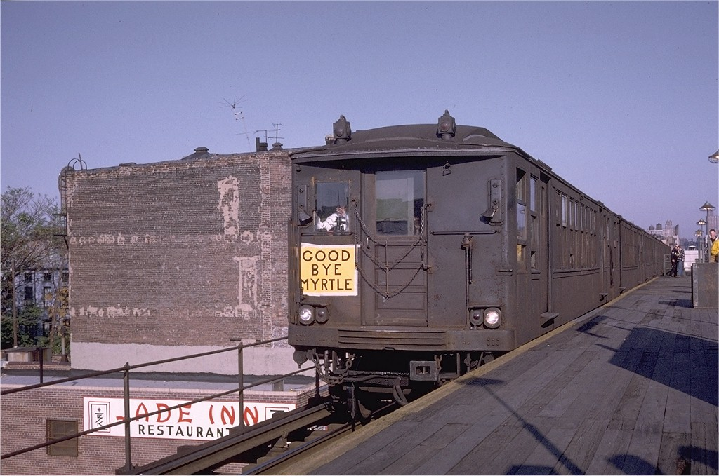 (194k, 1024x679)<br><b>Country:</b> United States<br><b>City:</b> New York<br><b>System:</b> New York City Transit<br><b>Line:</b> BMT Myrtle Avenue Line<br><b>Location:</b> Washington Avenue<br><b>Route:</b> Fan Trip<br><b>Car:</b> BMT Q 1629ABC <br><b>Photo by:</b> Doug Grotjahn<br><b>Collection of:</b> Joe Testagrose<br><b>Date:</b> 10/5/1969<br><b>Viewed (this week/total):</b> 0 / 5366
