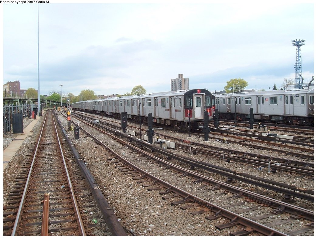 (210k, 1044x788)<br><b>Country:</b> United States<br><b>City:</b> New York<br><b>System:</b> New York City Transit<br><b>Location:</b> Unionport Yard<br><b>Car:</b> R-142 or R-142A (Number Unknown)  <br><b>Photo by:</b> Chris M.<br><b>Date:</b> 5/1/2005<br><b>Viewed (this week/total):</b> 1 / 3407