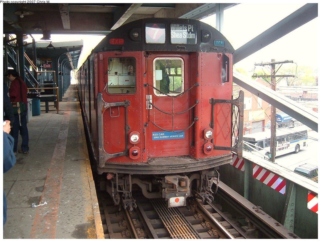 (191k, 1044x788)<br><b>Country:</b> United States<br><b>City:</b> New York<br><b>System:</b> New York City Transit<br><b>Line:</b> IRT Dyre Ave. Line<br><b>Location:</b> Dyre Avenue<br><b>Route:</b> Fan Trip<br><b>Car:</b> R-33 World's Fair (St. Louis, 1963-64) 9327 <br><b>Photo by:</b> Chris M.<br><b>Date:</b> 5/1/2005<br><b>Viewed (this week/total):</b> 4 / 3848