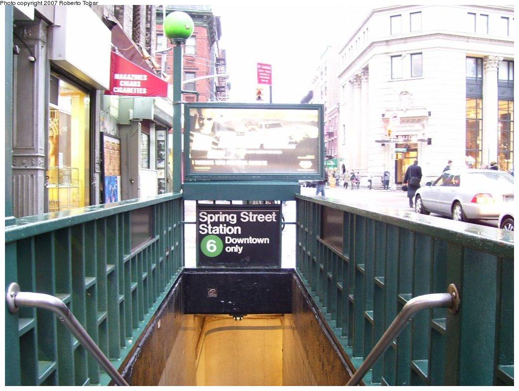 (168k, 1044x788)<br><b>Country:</b> United States<br><b>City:</b> New York<br><b>System:</b> New York City Transit<br><b>Line:</b> IRT East Side Line<br><b>Location:</b> Spring Street<br><b>Photo by:</b> Roberto C. Tobar<br><b>Date:</b> 4/4/2007<br><b>Notes:</b> Station entrance.<br><b>Viewed (this week/total):</b> 4 / 3209