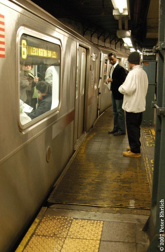 (189k, 565x864)<br><b>Country:</b> United States<br><b>City:</b> New York<br><b>System:</b> New York City Transit<br><b>Line:</b> IRT East Side Line<br><b>Location:</b> 14th Street/Union Square<br><b>Car:</b> R-142A (Primary Order, Kawasaki, 1999-2002) 7325 <br><b>Photo by:</b> Peter Ehrlich<br><b>Date:</b> 4/20/2007<br><b>Notes:</b> Local track gap fillers. With 7375.<br><b>Viewed (this week/total):</b> 2 / 3824