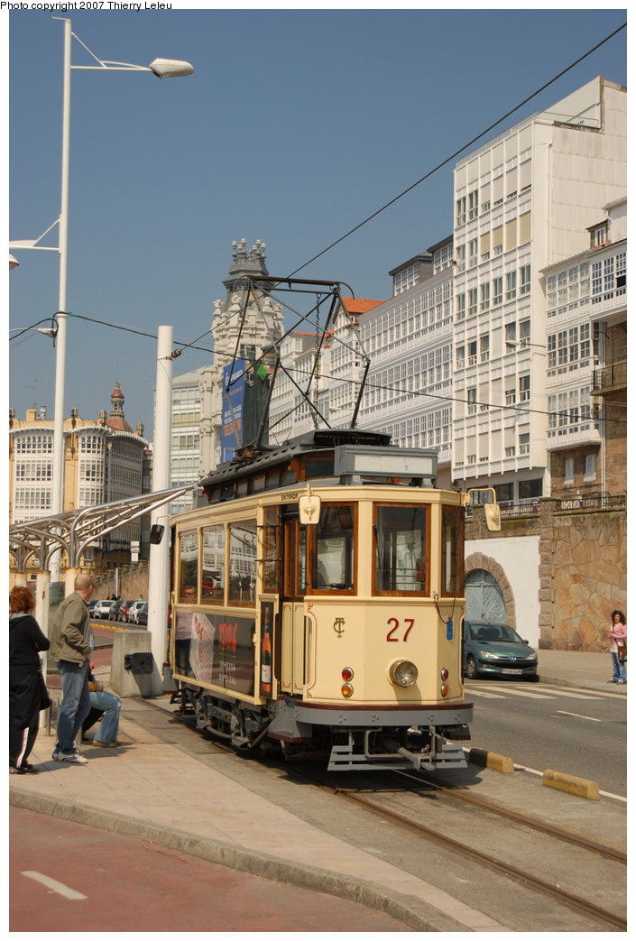 (217k, 705x1043)<br><b>Country:</b> Spain<br><b>City:</b> La Coruña<br><b>System:</b> Tranvia de La Coruña<br><b>Car:</b>  27 <br><b>Photo by:</b> Thierry Leleu<br><b>Date:</b> 4/8/2007<br><b>Viewed (this week/total):</b> 1 / 1653