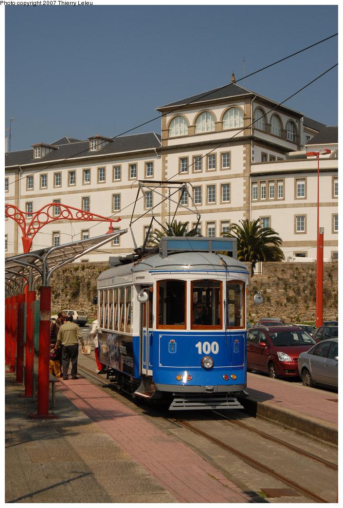 (228k, 705x1043)<br><b>Country:</b> Spain<br><b>City:</b> La Coruña<br><b>System:</b> Tranvia de La Coruña<br><b>Car:</b>  100 <br><b>Photo by:</b> Thierry Leleu<br><b>Date:</b> 4/8/2007<br><b>Viewed (this week/total):</b> 0 / 1649
