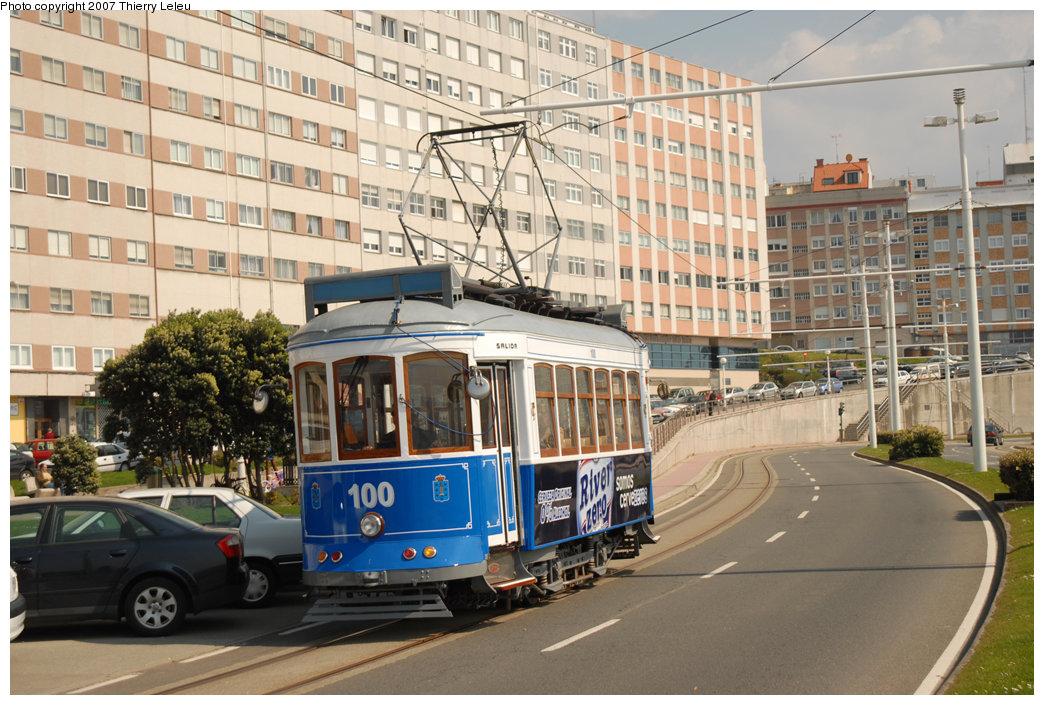 (246k, 1044x705)<br><b>Country:</b> Spain<br><b>City:</b> La Coruña<br><b>System:</b> Tranvia de La Coruña<br><b>Car:</b>  100 <br><b>Photo by:</b> Thierry Leleu<br><b>Date:</b> 4/8/2007<br><b>Viewed (this week/total):</b> 1 / 1544