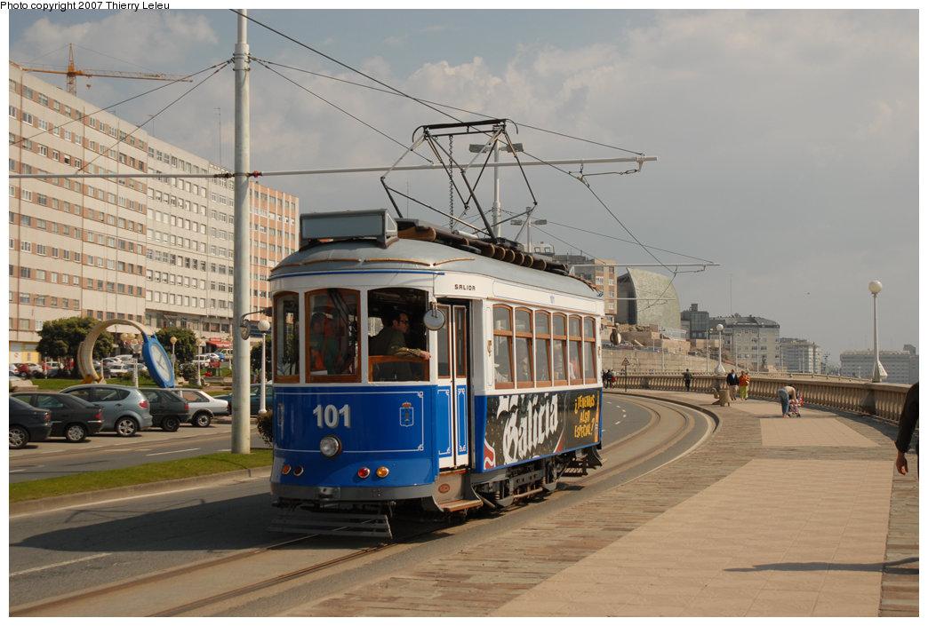 (198k, 1044x705)<br><b>Country:</b> Spain<br><b>City:</b> La Coruña<br><b>System:</b> Tranvia de La Coruña<br><b>Car:</b>  101 <br><b>Photo by:</b> Thierry Leleu<br><b>Date:</b> 4/8/2007<br><b>Viewed (this week/total):</b> 0 / 1175