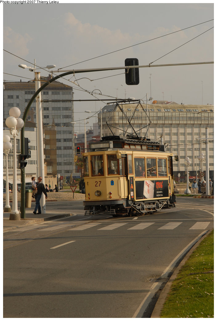 (192k, 705x1043)<br><b>Country:</b> Spain<br><b>City:</b> La Coruña<br><b>System:</b> Tranvia de La Coruña<br><b>Car:</b>  27 <br><b>Photo by:</b> Thierry Leleu<br><b>Date:</b> 4/8/2007<br><b>Viewed (this week/total):</b> 0 / 1533
