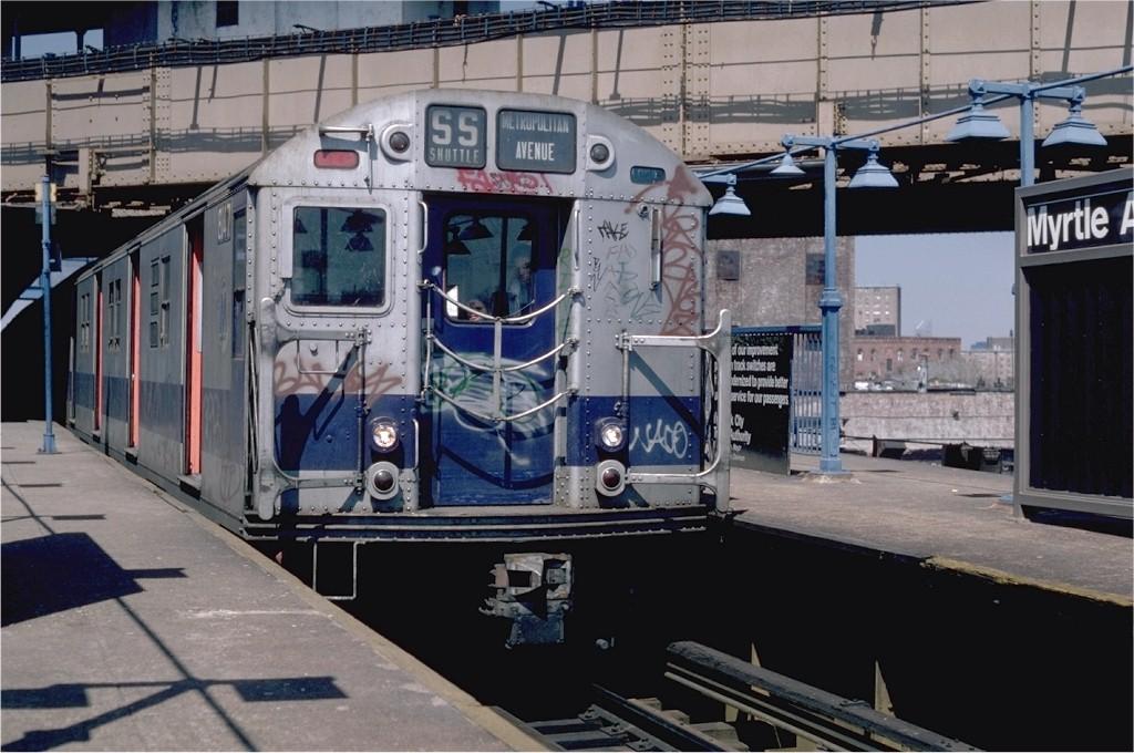 (189k, 1024x680)<br><b>Country:</b> United States<br><b>City:</b> New York<br><b>System:</b> New York City Transit<br><b>Line:</b> BMT Nassau Street-Jamaica Line<br><b>Location:</b> Myrtle Avenue<br><b>Route:</b> M<br><b>Car:</b> R-27 (St. Louis, 1960) 8147 <br><b>Photo by:</b> Steve Zabel<br><b>Collection of:</b> Joe Testagrose<br><b>Date:</b> 4/14/1982<br><b>Viewed (this week/total):</b> 0 / 3810