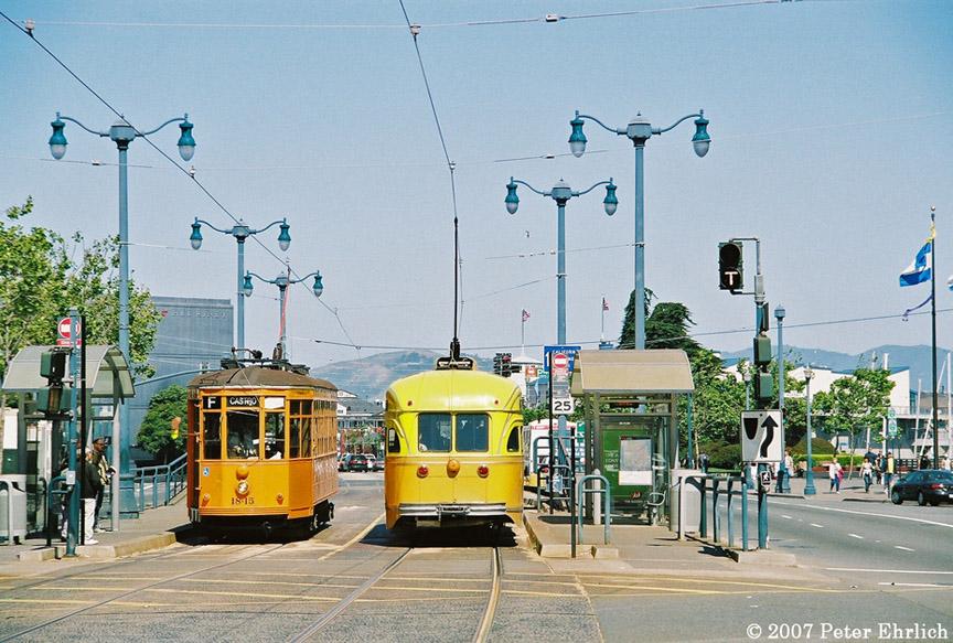 (225k, 864x583)<br><b>Country:</b> United States<br><b>City:</b> San Francisco/Bay Area, CA<br><b>System:</b> SF MUNI<br><b>Location:</b> Embarcadero/Bay<br><b>Car:</b> Milan Milano/Peter Witt (1927-1930) 1815 <br><b>Photo by:</b> Peter Ehrlich<br><b>Date:</b> 5/22/2007<br><b>Notes:</b> Embarcadero/Bay, with 1052 (Los Angeles).  1815 outbound.<br><b>Viewed (this week/total):</b> 0 / 599