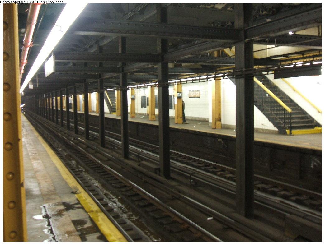 (160k, 1044x788)<br><b>Country:</b> United States<br><b>City:</b> New York<br><b>System:</b> New York City Transit<br><b>Line:</b> IND 8th Avenue Line<br><b>Location:</b> 155th Street<br><b>Photo by:</b> Frank LeViness<br><b>Date:</b> 6/1/2006<br><b>Notes:</b> View of tracks and far side platform.<br><b>Viewed (this week/total):</b> 2 / 4228