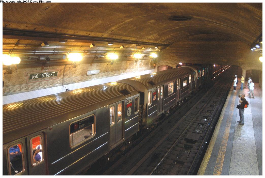 (221k, 1044x701)<br><b>Country:</b> United States<br><b>City:</b> New York<br><b>System:</b> New York City Transit<br><b>Line:</b> IRT West Side Line<br><b>Location:</b> 168th Street<br><b>Route:</b> 1<br><b>Car:</b> R-62A (Bombardier, 1984-1987) 2258 <br><b>Photo by:</b> David Pirmann<br><b>Date:</b> 6/9/2007<br><b>Viewed (this week/total):</b> 3 / 4189
