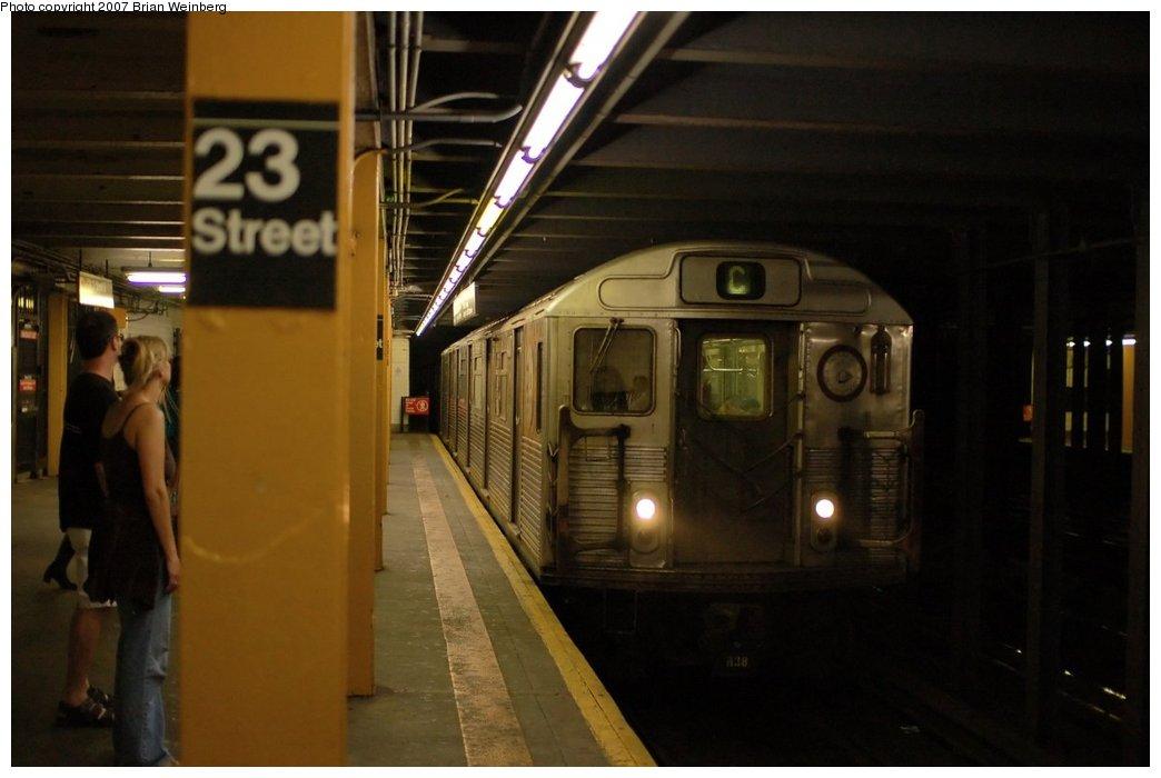 (163k, 1044x700)<br><b>Country:</b> United States<br><b>City:</b> New York<br><b>System:</b> New York City Transit<br><b>Line:</b> IND 8th Avenue Line<br><b>Location:</b> 23rd Street<br><b>Route:</b> C<br><b>Car:</b> R-38 (St. Louis, 1966-1967)  <br><b>Photo by:</b> Brian Weinberg<br><b>Date:</b> 6/8/2007<br><b>Viewed (this week/total):</b> 0 / 3785