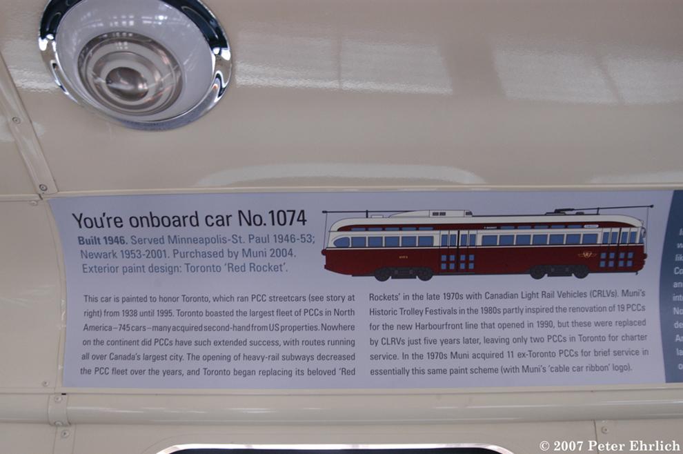 (537k, 990x658)<br><b>Country:</b> United States<br><b>City:</b> San Francisco/Bay Area, CA<br><b>System:</b> SF MUNI<br><b>Car:</b> SF MUNI PCC (Ex-NJTransit, Ex-Twin City) (St. Louis Car Co., 1946-1947) 1074 <br><b>Photo by:</b> Peter Ehrlich<br><b>Date:</b> 3/8/2007<br><b>Notes:</b> Toronto car card.<br><b>Viewed (this week/total):</b> 0 / 931