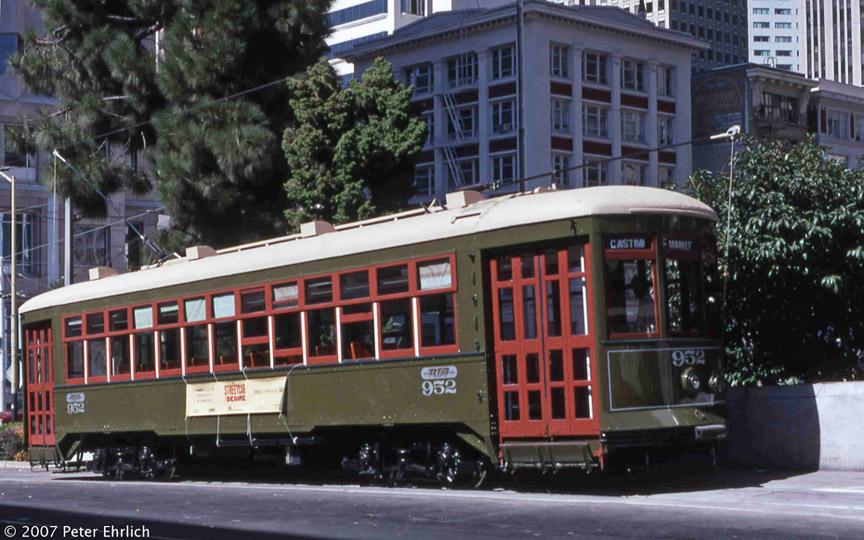 (197k, 864x540)<br><b>Country:</b> United States<br><b>City:</b> San Francisco/Bay Area, CA<br><b>System:</b> SF MUNI<br><b>Location:</b> Transbay Terminal<br><b>Car:</b> New Orleans Public Service (Perley A. Thomas Car Works, 1924) 952 <br><b>Photo by:</b> Peter Ehrlich<br><b>Date:</b> 9/19/1998<br><b>Notes:</b> Transbay Terminal, second day of service on Muni.<br><b>Viewed (this week/total):</b> 1 / 731