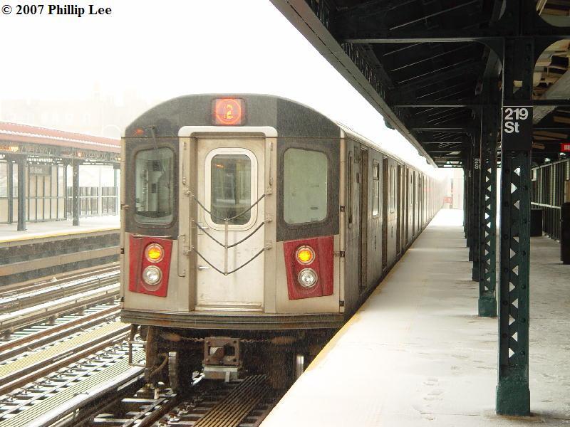 (89k, 800x600)<br><b>Country:</b> United States<br><b>City:</b> New York<br><b>System:</b> New York City Transit<br><b>Line:</b> IRT White Plains Road Line<br><b>Location:</b> 219th Street<br><b>Route:</b> 2<br><b>Car:</b> R-142 or R-142A (Number Unknown)  <br><b>Photo by:</b> Phillip Lee<br><b>Date:</b> 2/14/2007<br><b>Viewed (this week/total):</b> 0 / 3425