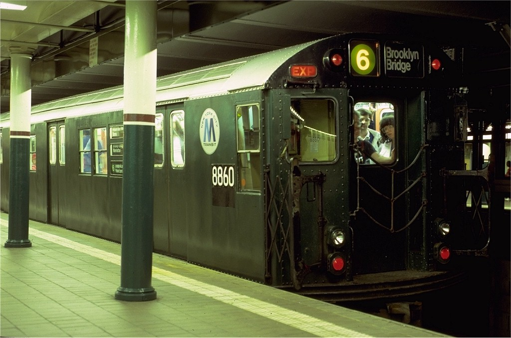 (164k, 1024x678)<br><b>Country:</b> United States<br><b>City:</b> New York<br><b>System:</b> New York City Transit<br><b>Line:</b> IRT East Side Line<br><b>Location:</b> Astor Place<br><b>Route:</b> Fan Trip<br><b>Car:</b> R-33 Main Line (St. Louis, 1962-63) 8860 <br><b>Photo by:</b> Eric Oszustowicz<br><b>Collection of:</b> Joe Testagrose<br><b>Date:</b> 5/24/1987<br><b>Viewed (this week/total):</b> 2 / 5825