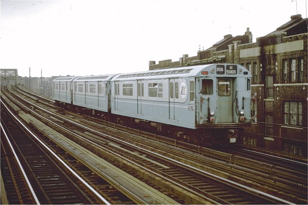 (215k, 1024x682)<br><b>Country:</b> United States<br><b>City:</b> New York<br><b>System:</b> New York City Transit<br><b>Line:</b> IRT Pelham Line<br><b>Location:</b> Elder Avenue<br><b>Route:</b> Fan Trip<br><b>Car:</b> R-33 World's Fair (St. Louis, 1963-64) 9327 <br><b>Photo by:</b> Joe Testagrose<br><b>Date:</b> 9/20/1971<br><b>Viewed (this week/total):</b> 1 / 2287