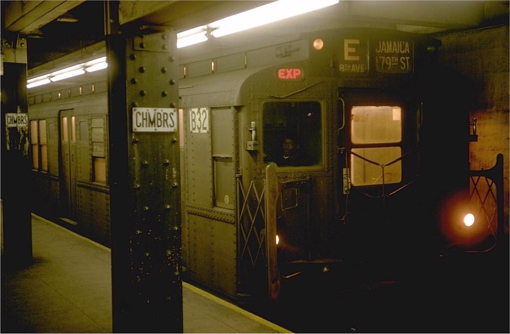 (138k, 1024x671)<br><b>Country:</b> United States<br><b>City:</b> New York<br><b>System:</b> New York City Transit<br><b>Line:</b> IND 8th Avenue Line<br><b>Location:</b> Chambers Street/World Trade Center<br><b>Route:</b> E<br><b>Car:</b> R-9 (Pressed Steel, 1940) B32 (ex-1742)<br><b>Photo by:</b> Doug Grotjahn<br><b>Collection of:</b> Joe Testagrose<br><b>Date:</b> 1/10/1969<br><b>Viewed (this week/total):</b> 4 / 5469