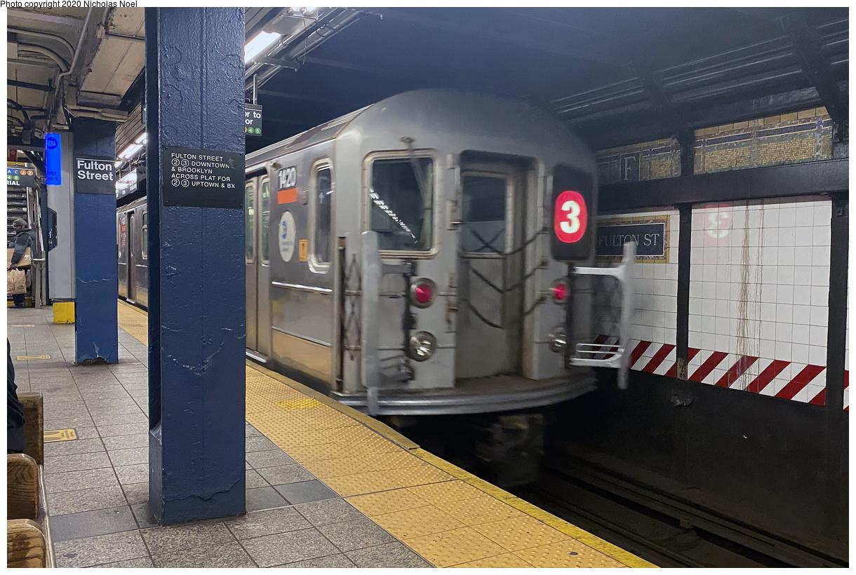 (457k, 1220x820)<br><b>Country:</b> United States<br><b>City:</b> New York<br><b>System:</b> New York City Transit<br><b>Line:</b> IRT West Side Line<br><b>Location:</b> Fulton Street<br><b>Route:</b> 3<br><b>Car:</b> R-62 (Kawasaki, 1983-1985) 1420 <br><b>Photo by:</b> Nicholas Noel<br><b>Date:</b> 10/3/2020<br><b>Viewed (this week/total):</b> 2 / 300