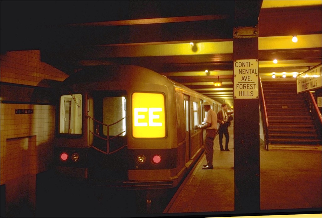 (149k, 1024x695)<br><b>Country:</b> United States<br><b>City:</b> New York<br><b>System:</b> New York City Transit<br><b>Line:</b> IND Queens Boulevard Line<br><b>Location:</b> 71st/Continental Aves./Forest Hills<br><b>Route:</b> EE<br><b>Car:</b> R-40M (St. Louis, 1969) CB33 (ex-4331)<br><b>Photo by:</b> Doug Grotjahn<br><b>Collection of:</b> Joe Testagrose<br><b>Date:</b> 7/29/1969<br><b>Viewed (this week/total):</b> 4 / 3569