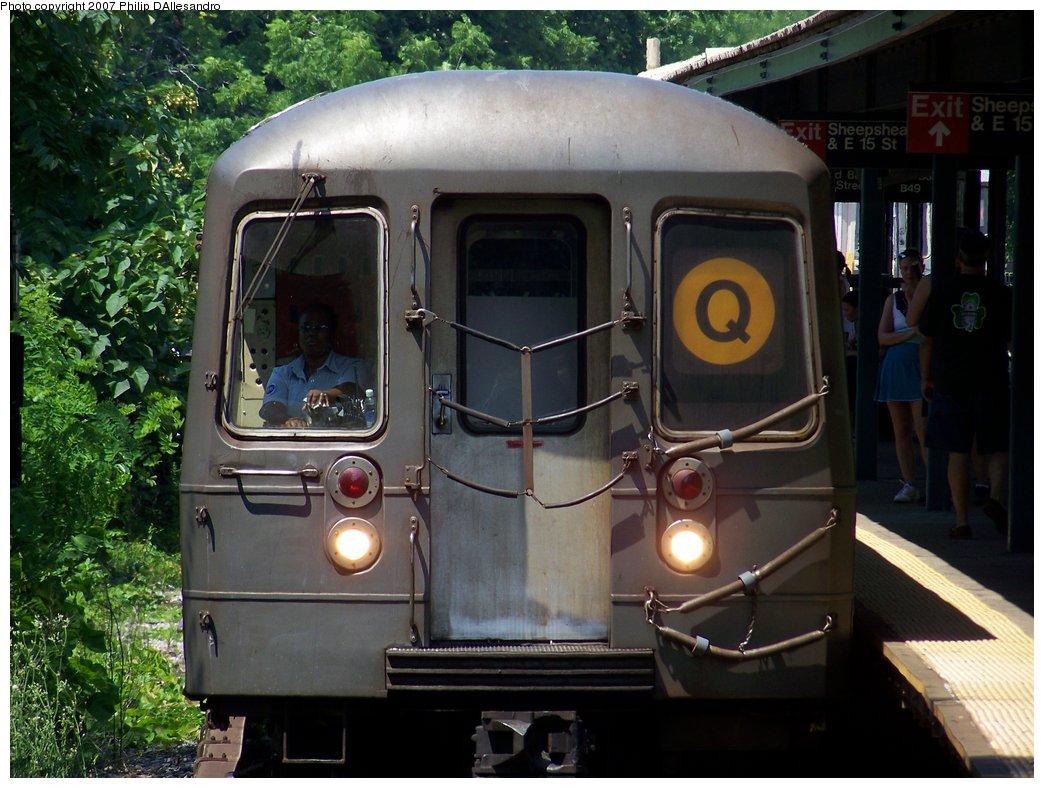 (191k, 1044x788)<br><b>Country:</b> United States<br><b>City:</b> New York<br><b>System:</b> New York City Transit<br><b>Line:</b> BMT Brighton Line<br><b>Location:</b> Sheepshead Bay<br><b>Route:</b> Q<br><b>Car:</b> R-68/R-68A Series (Number Unknown)  <br><b>Photo by:</b> Philip D'Allesandro<br><b>Date:</b> 7/14/2007<br><b>Viewed (this week/total):</b> 1 / 2470