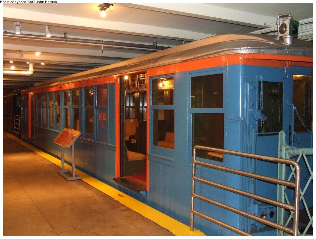 (177k, 1044x788)<br><b>Country:</b> United States<br><b>City:</b> New York<br><b>System:</b> New York City Transit<br><b>Location:</b> New York Transit Museum<br><b>Car:</b> BMT Q 1612C <br><b>Photo by:</b> John Barnes<br><b>Date:</b> 7/19/2007<br><b>Viewed (this week/total):</b> 5 / 3773