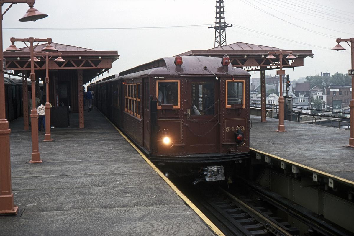 (443k, 1200x800)<br><b>Country:</b> United States<br><b>City:</b> New York<br><b>System:</b> New York City Transit<br><b>Line:</b> IRT Flushing Line<br><b>Location:</b> 61st Street/Woodside<br><b>Route:</b> Fan Trip<br><b>Car:</b> Low-V (Museum Train) 5443 <br><b>Collection of:</b> David Pirmann<br><b>Date:</b> 6/2/1979<br><b>Viewed (this week/total):</b> 0 / 3768