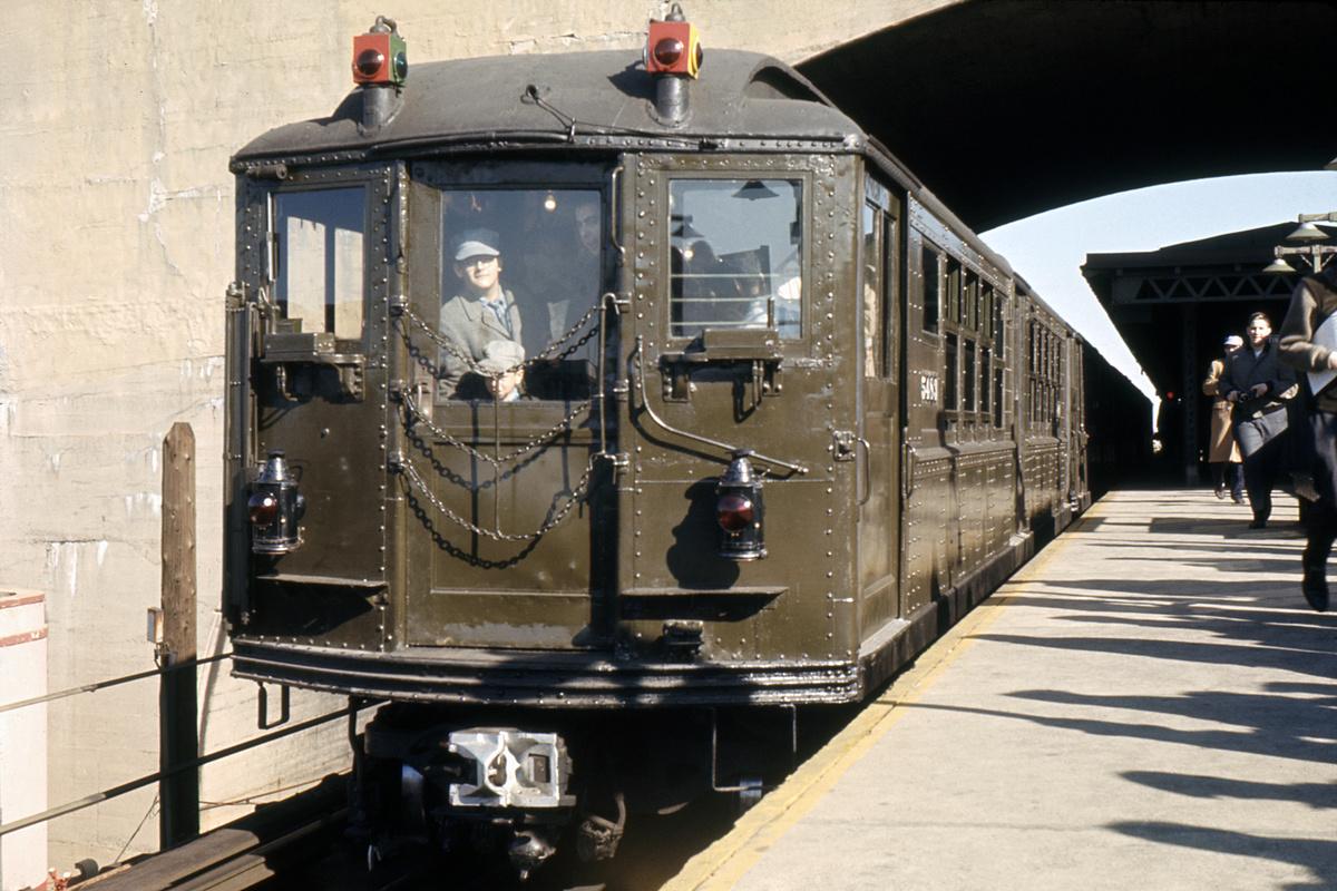 (452k, 1200x800)<br><b>Country:</b> United States<br><b>City:</b> New York<br><b>System:</b> New York City Transit<br><b>Line:</b> BMT Astoria Line<br><b>Location:</b> Ditmars Boulevard<br><b>Route:</b> Fan Trip<br><b>Car:</b> Low-V (Museum Train) 5483 <br><b>Collection of:</b> David Pirmann<br><b>Date:</b> 11/14/1965<br><b>Viewed (this week/total):</b> 2 / 7040