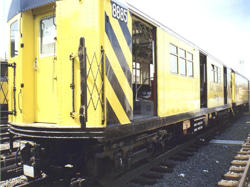 (87k, 800x600)<br><b>Country:</b> United States<br><b>City:</b> New York<br><b>System:</b> New York City Transit<br><b>Location:</b> Westchester Yard<br><b>Car:</b> Rail Adhesion Train (R-30/R-33 Rebuilds) 8885 <br><b>Photo by:</b> Constantine Steffan<br><b>Date:</b> 9/12/1998<br><b>Notes:</b> Rail Adhesion Train<br><b>Viewed (this week/total):</b> 2 / 8147