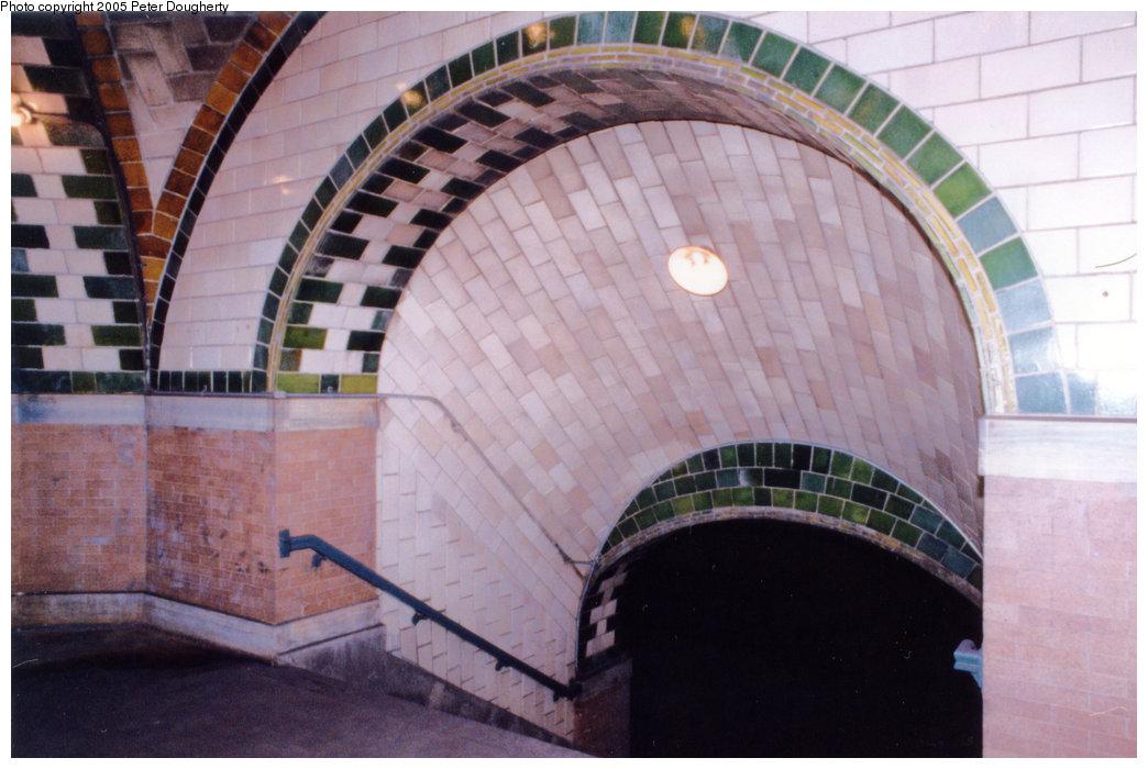 (169k, 1044x700)<br><b>Country:</b> United States<br><b>City:</b> New York<br><b>System:</b> New York City Transit<br><b>Line:</b> IRT East Side Line<br><b>Location:</b> City Hall<br><b>Photo by:</b> Peter Dougherty<br><b>Date:</b> 7/1996<br><b>Notes:</b> The staircase barrel vault<br><b>Viewed (this week/total):</b> 0 / 9008