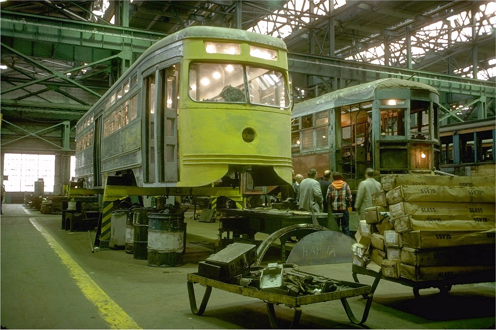 (263k, 1024x682)<br><b>Country:</b> United States<br><b>City:</b> New York<br><b>System:</b> New York City Transit<br><b>Location:</b> Coney Island Shop/Overhaul & Repair Shop<br><b>Car:</b> Brooklyn & Queens Transit PCC (Clark Equipment, 1936) 1000 <br><b>Photo by:</b> Doug Grotjahn<br><b>Collection of:</b> Joe Testagrose<br><b>Date:</b> 11/11/1978<br><b>Viewed (this week/total):</b> 0 / 3672