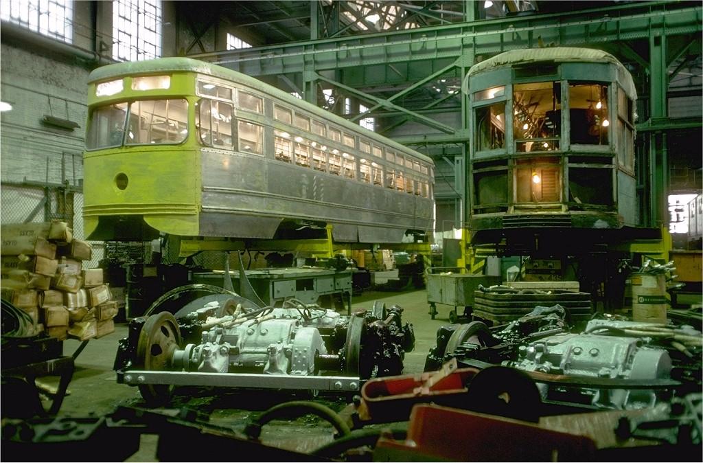 (228k, 1024x674)<br><b>Country:</b> United States<br><b>City:</b> New York<br><b>System:</b> New York City Transit<br><b>Location:</b> Coney Island Shop/Overhaul & Repair Shop<br><b>Car:</b> Brooklyn & Queens Transit PCC (Clark Equipment, 1936) 1000 <br><b>Photo by:</b> Doug Grotjahn<br><b>Collection of:</b> Joe Testagrose<br><b>Date:</b> 11/11/1978<br><b>Viewed (this week/total):</b> 0 / 3955