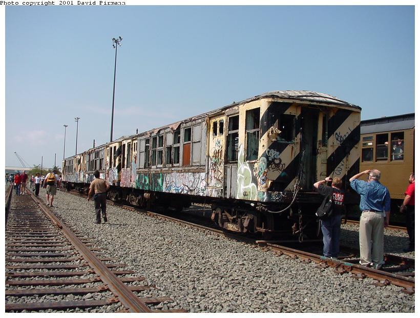 (100k, 820x620)<br><b>Country:</b> United States<br><b>City:</b> New York<br><b>System:</b> New York City Transit<br><b>Line:</b> South Brooklyn Railway<br><b>Location:</b> SBK Yard (2nd Ave at 38th St.) (SBK)<br><b>Car:</b> BMT QX 30617 <br><b>Photo by:</b> David Pirmann<br><b>Date:</b> 8/26/2001<br><b>Notes:</b> Q-Type cars in Bush Terminal (SBK) scrap yard.<br><b>Viewed (this week/total):</b> 6 / 11004