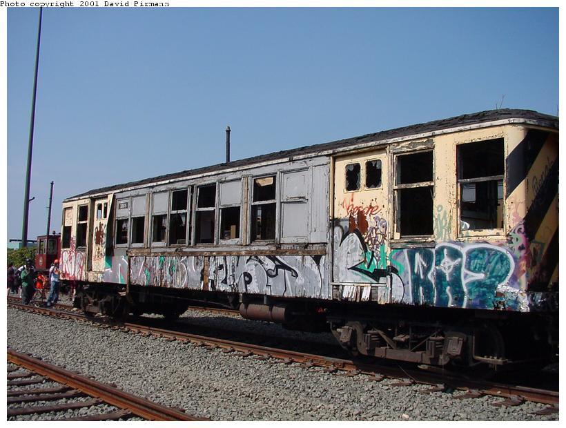 (92k, 820x620)<br><b>Country:</b> United States<br><b>City:</b> New York<br><b>System:</b> New York City Transit<br><b>Line:</b> South Brooklyn Railway<br><b>Location:</b> SBK Yard (2nd Ave at 38th St.) (SBK)<br><b>Car:</b> BMT QX 30618 <br><b>Photo by:</b> David Pirmann<br><b>Date:</b> 8/26/2001<br><b>Notes:</b> Q-Type cars in Bush Terminal (SBK) scrap yard.<br><b>Viewed (this week/total):</b> 8 / 7685