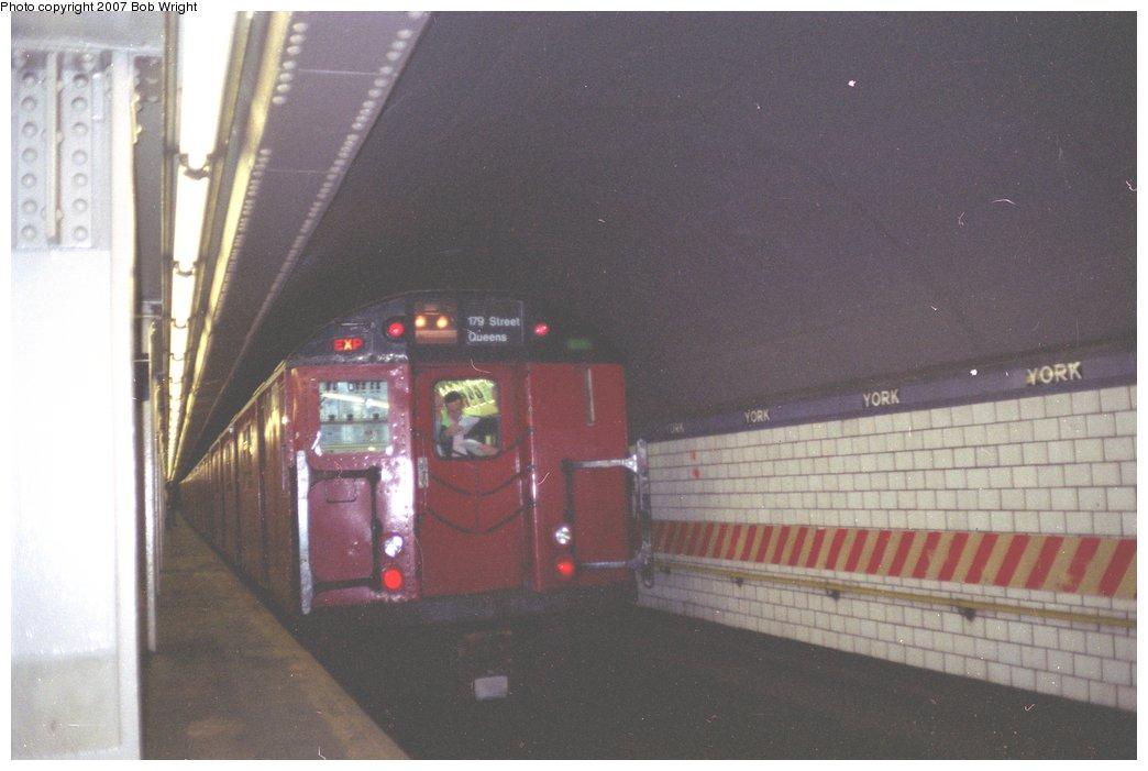 (104k, 1044x701)<br><b>Country:</b> United States<br><b>City:</b> New York<br><b>System:</b> New York City Transit<br><b>Line:</b> IND 6th Avenue Line<br><b>Location:</b> York Street<br><b>Route:</b> Fan Trip<br><b>Car:</b> R-30 (St. Louis, 1961) 8271 <br><b>Photo by:</b> Bob Wright<br><b>Date:</b> 11/10/1991<br><b>Viewed (this week/total):</b> 1 / 6483