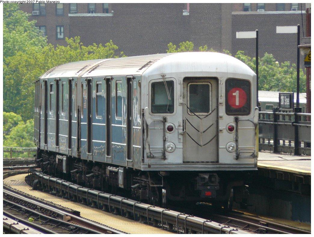 (194k, 1044x788)<br><b>Country:</b> United States<br><b>City:</b> New York<br><b>System:</b> New York City Transit<br><b>Line:</b> IRT West Side Line<br><b>Location:</b> 207th Street<br><b>Route:</b> 1<br><b>Car:</b> R-62A (Bombardier, 1984-1987) 1860 <br><b>Photo by:</b> Pablo Maneiro<br><b>Date:</b> 7/27/2007<br><b>Viewed (this week/total):</b> 1 / 2359