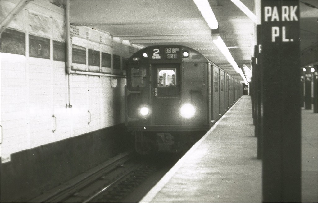 (140k, 1024x653)<br><b>Country:</b> United States<br><b>City:</b> New York<br><b>System:</b> New York City Transit<br><b>Line:</b> IRT West Side Line<br><b>Location:</b> Park Place<br><b>Route:</b> 2<br><b>Car:</b> R-21/R-22 Series (Number Unknown)  <br><b>Photo by:</b> Harry Pinsker<br><b>Date:</b> 5/17/1959<br><b>Viewed (this week/total):</b> 3 / 4974