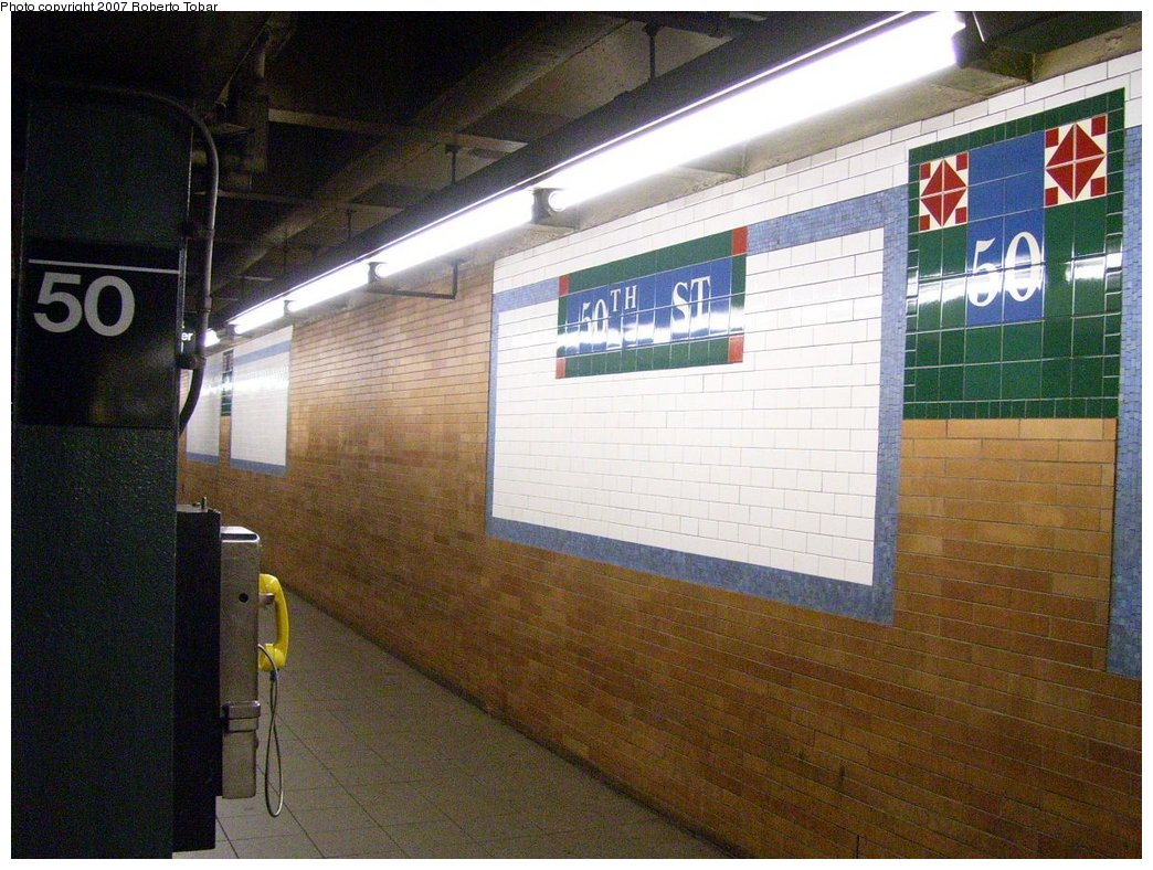(196k, 1044x788)<br><b>Country:</b> United States<br><b>City:</b> New York<br><b>System:</b> New York City Transit<br><b>Line:</b> IRT West Side Line<br><b>Location:</b> 50th Street<br><b>Photo by:</b> Roberto C. Tobar<br><b>Date:</b> 8/4/2007<br><b>Viewed (this week/total):</b> 2 / 2488