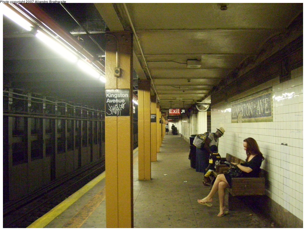(204k, 1044x791)<br><b>Country:</b> United States<br><b>City:</b> New York<br><b>System:</b> New York City Transit<br><b>Line:</b> IRT Brooklyn Line<br><b>Location:</b> Kingston Avenue<br><b>Photo by:</b> Aliandro Brathwaite<br><b>Date:</b> 8/1/2007<br><b>Viewed (this week/total):</b> 0 / 3766