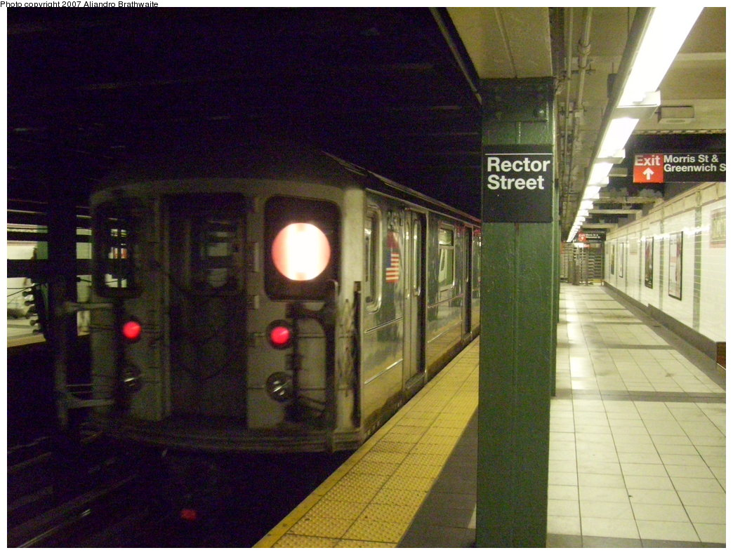 (197k, 1044x791)<br><b>Country:</b> United States<br><b>City:</b> New York<br><b>System:</b> New York City Transit<br><b>Line:</b> IRT West Side Line<br><b>Location:</b> Rector Street<br><b>Route:</b> 1<br><b>Car:</b> R-62A (Bombardier, 1984-1987) 2430 <br><b>Photo by:</b> Aliandro Brathwaite<br><b>Date:</b> 8/3/2007<br><b>Viewed (this week/total):</b> 3 / 4717