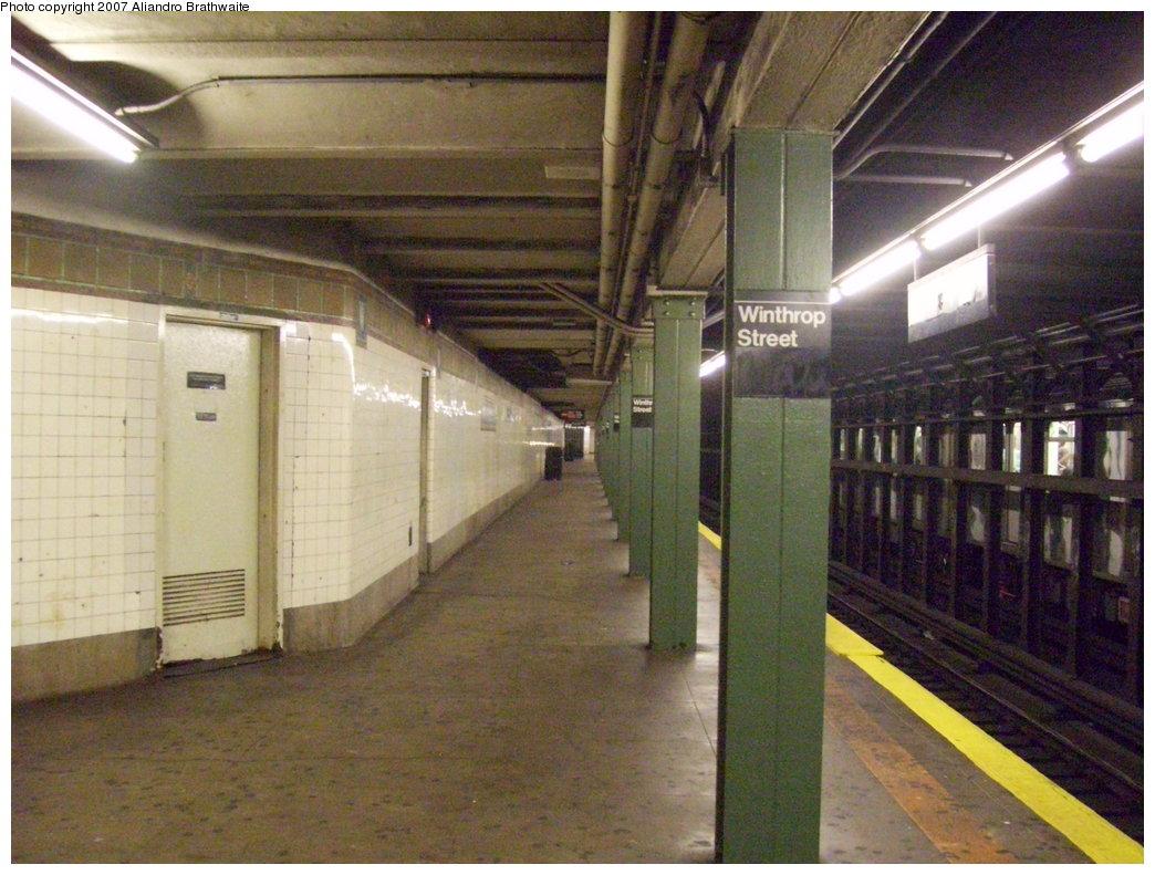 (201k, 1044x791)<br><b>Country:</b> United States<br><b>City:</b> New York<br><b>System:</b> New York City Transit<br><b>Line:</b> IRT Brooklyn Line<br><b>Location:</b> Winthrop Street<br><b>Photo by:</b> Aliandro Brathwaite<br><b>Date:</b> 8/3/2007<br><b>Viewed (this week/total):</b> 2 / 4073