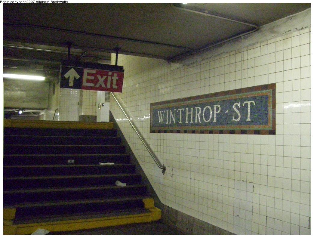 (192k, 1044x791)<br><b>Country:</b> United States<br><b>City:</b> New York<br><b>System:</b> New York City Transit<br><b>Line:</b> IRT Brooklyn Line<br><b>Location:</b> Winthrop Street<br><b>Photo by:</b> Aliandro Brathwaite<br><b>Date:</b> 8/3/2007<br><b>Viewed (this week/total):</b> 1 / 3144