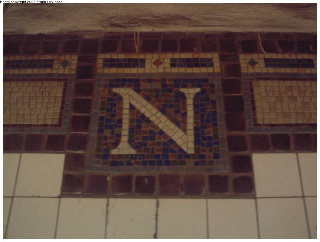 (94k, 1044x788)<br><b>Country:</b> United States<br><b>City:</b> New York<br><b>System:</b> New York City Transit<br><b>Line:</b> IRT Brooklyn Line<br><b>Location:</b> Nostrand Avenue<br><b>Photo by:</b> Frank LeViness<br><b>Date:</b> 12/28/2006<br><b>Notes:</b> Mosaic N tablet.<br><b>Viewed (this week/total):</b> 0 / 2460