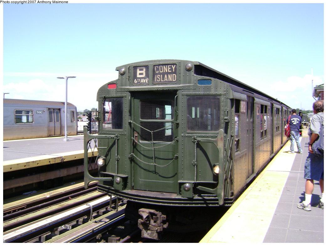 (177k, 1044x788)<br><b>Country:</b> United States<br><b>City:</b> New York<br><b>System:</b> New York City Transit<br><b>Location:</b> Coney Island/Stillwell Avenue<br><b>Route:</b> Fan Trip<br><b>Car:</b> R-9 (Pressed Steel, 1940) 1802 <br><b>Photo by:</b> Anthony Maimone<br><b>Date:</b> 8/12/2007<br><b>Viewed (this week/total):</b> 2 / 2534