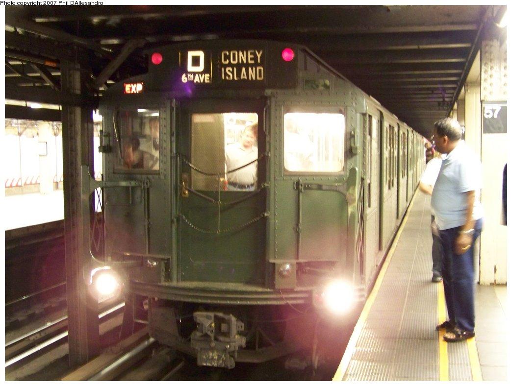 (149k, 1044x788)<br><b>Country:</b> United States<br><b>City:</b> New York<br><b>System:</b> New York City Transit<br><b>Line:</b> BMT Broadway Line<br><b>Location:</b> 57th Street<br><b>Route:</b> Fan Trip<br><b>Car:</b> R-1 (American Car & Foundry, 1930-1931) 100 <br><b>Photo by:</b> Philip D'Allesandro<br><b>Date:</b> 8/12/2007<br><b>Viewed (this week/total):</b> 7 / 3471