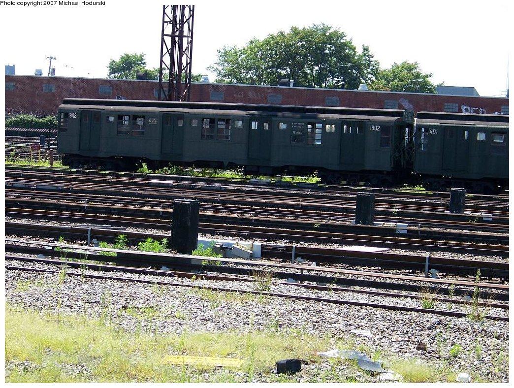 (313k, 1044x788)<br><b>Country:</b> United States<br><b>City:</b> New York<br><b>System:</b> New York City Transit<br><b>Location:</b> Coney Island Yard<br><b>Route:</b> Fan Trip<br><b>Car:</b> R-9 (Pressed Steel, 1940) 1802 <br><b>Photo by:</b> Michael Hodurski<br><b>Date:</b> 8/12/2007<br><b>Viewed (this week/total):</b> 6 / 1746