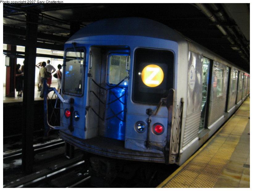 (90k, 820x620)<br><b>Country:</b> United States<br><b>City:</b> New York<br><b>System:</b> New York City Transit<br><b>Line:</b> BMT Nassau Street-Jamaica Line<br><b>Location:</b> Broad Street<br><b>Route:</b> Z<br><b>Car:</b> R-42 (St. Louis, 1969-1970) 4773 <br><b>Photo by:</b> Gary Chatterton<br><b>Date:</b> 8/7/2007<br><b>Viewed (this week/total):</b> 6 / 3652