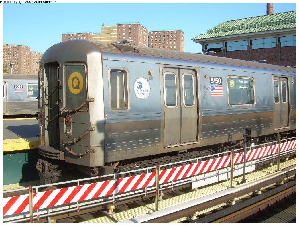 (251k, 1044x788)<br><b>Country:</b> United States<br><b>City:</b> New York<br><b>System:</b> New York City Transit<br><b>Location:</b> Coney Island/Stillwell Avenue<br><b>Route:</b> Q<br><b>Car:</b> R-68A (Kawasaki, 1988-1989) 5150 <br><b>Photo by:</b> Zach Summer<br><b>Date:</b> 8/12/2007<br><b>Viewed (this week/total):</b> 8 / 2118